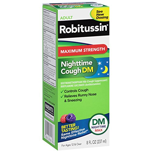 Robitussin Adult Maximum Strength Nighttime Cough DM Max (8 Fl Oz Bottle), Cough Suppressant & Antihistamine, Blue Raspberry Flavor