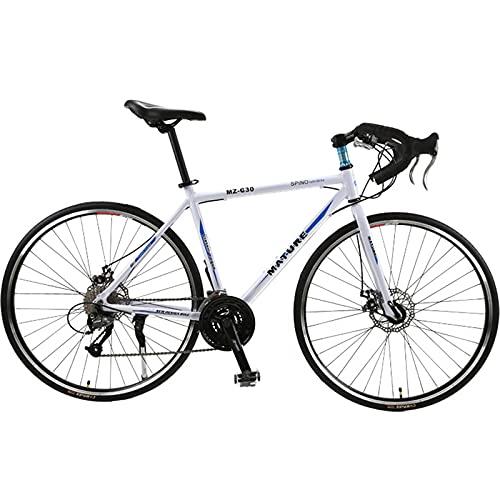 PBTRM Bicicleta Carretera 700C 26,8 Pulgadas 27 Velocidades Aleación Aluminio Velocidad Variable Freno Disco Doble Bicicleta Carretera para Hombres Mujeres,White Blue