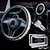 5 Pack Bling Car Accessories Set for Women, Diamond Leather Bling Steering Wheel Cover for...
