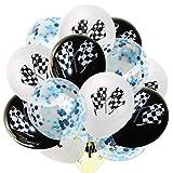 Toyvian 15 STÜCKE Checkered Flaggen Konfetti Luftballons Feier Latex Luftballons für Rennwagen Party (Weiß Schwarz und Blau)