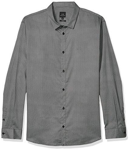 Armani Exchange A|X Herren Long Sleeve Button Up Design Shirt Hemd, Black Asters, X-Klein