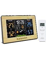 Kalawen Radiowa stacja pogodowa z czujnikiem zewnętrznym, radiowa stacja pogodowa, cyfrowa stacja pogodowa, kolorowy wyświetlacz, DCF, wielofunkcyjna stacja pogodowa z prognozą pogody