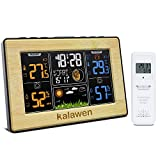 Kalawen Stazione Meteo Automatica Digitale Wireless Meteorologica con Ampio Schermo LCD Display Sveglia Tempo Data Temperatura umidità Previsioni di Tempo con Sensore Esterno Wireless,Legno
