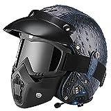 Cascos de moto Casco de cuero Bluetooth Cara abierta Moto Vintage Jet Half Helmet, Bike Cruiser Chopper Bobber Scooter Rider Equipment DOT/ECE Approved H,M