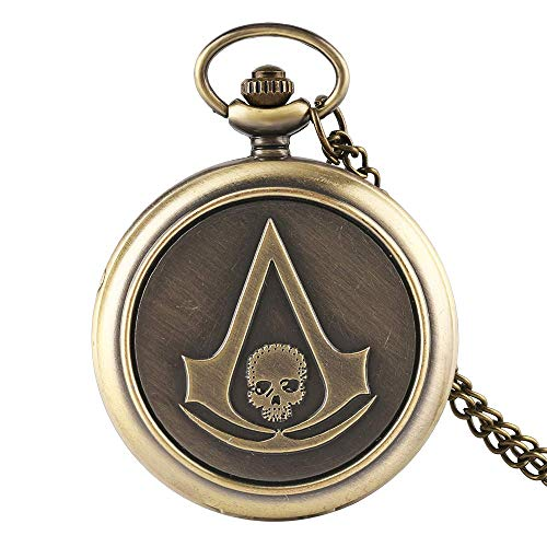 GAOFQ Montre de Poche Assassin's Creed Sci-FI Film tête de Mort rétro analogique Quartz Fob Montres pour Hommes Cadeau de noël