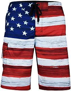 VBRANDED Men's American Flag Patriotic Board Shorts (Assorted Designs)