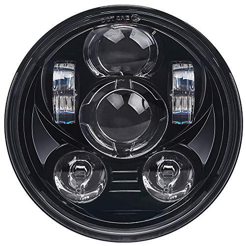 Lusgwufad 5-3/4 5.75 inch LED Headlight for Harley Davidson 883 Sportster Iron Dyna Street Bob Motorcycle Driving Light (Black)