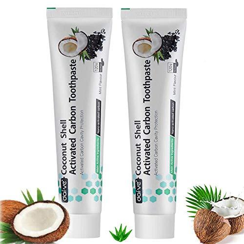 Zahnpasta Aktivkohle Kokos (2 Packs) Fluoridfreie Zahnpasta Kokosnuss für Weisse Zähne Natürliche Whitening Zahnpasta ohne Fluorid Für Empfindliche Zähne