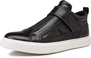 Bin Zhang Platform Skate Sneakers for Men Sports Shoes Slip on Genuine Leather Round Toe Hook&Loop Strap Anti-Slip Stitching Elastic Band (Color : Black(Height Increase), Size : 9 UK)