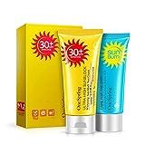 Yixikejiyouxian No.Yzc1773 Protector Solar Facial para el Cuerpo sin Crema Belleza Cuidado de la Piel Crema blanqueadora hidratante Anti oxidante Bloqueador Solar UVA/Uvb - Azul y Amarillo