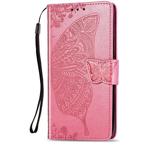 Dclbo Funda para Huawei Honor 9X Lite, funda de teléfono móvil, funda de piel con cierre magnético, funda de piel con patrón magnético para Huawei Honor 9X Lite-Rosa