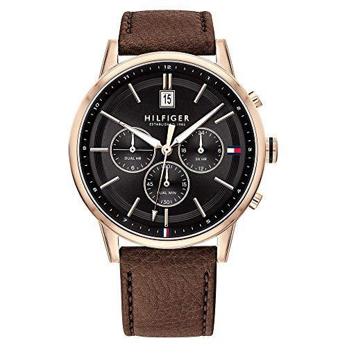 Tommy Hilfiger Herren Multi Dial Quartz Uhr mit Leder Armband 1791631