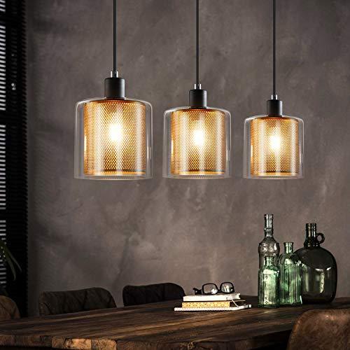 ZMH Vintage Pendelleuchte Esstisch 3 Flammige Hängeleuchte mit Doppeltem Schirm aus Glas und Metall Höhenverstellbar Pendellampe Farbe: Schwarz und Gold, Fassung: E14, Esstischlampe, Wohnzimmerlampe