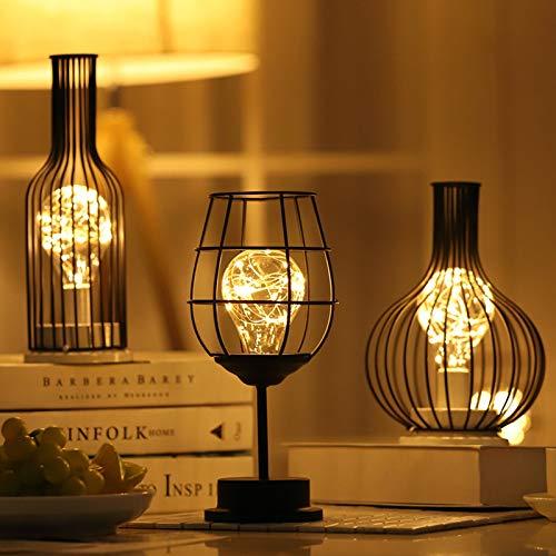 LED-verlichting, klein nachtlampje, wijnglas, rode wijnfles, cadeau-idee, decoratie, warm wit, wijnglas + wijnfles