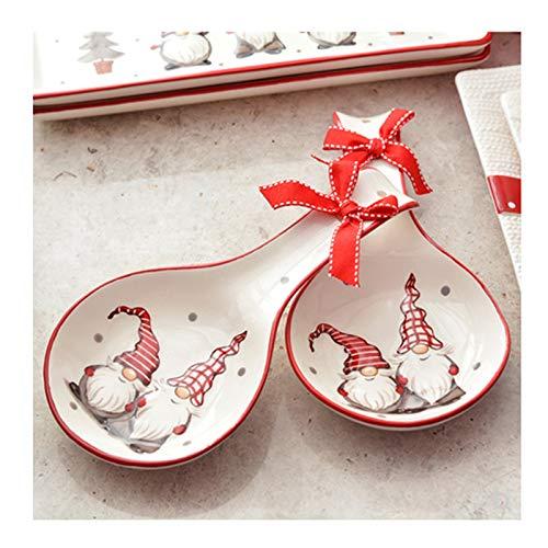 Cucharas de sopa Linda Navidad Regalo Cerámica Cuchara de arroz Vajilla Pintado a mano Cerámica Cuchara grande Cuchara creativa Cuchara de sopa de 2 piezas Embalaje duradero y fácil de limpiar Cuchara
