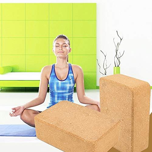 Dongdexiu Accesorios de Yoga Ladrillo deCorcho de Yoga Alta Densidad Natural soso Suministros de acondicionamiento físico Auxiliar (Color : Marrón Claro)