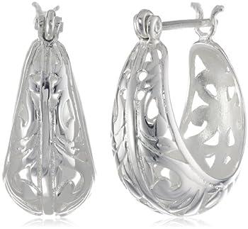 Sterling Silver Filigree Round Hoop Earrings