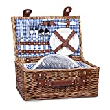 Picnic Basket for 2 Wicker Picknick Basket Set with Insulated Cooler for Outing Camping,Blue Gingham