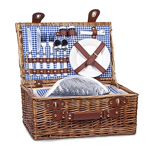 SatisInside UPGRADED INSULATED Deluxe 16Pcs Kit Wicker Picnic Basket Set For 2 People - - Blue Gingham