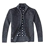 Gioberti Boy's Knitted Full Zip Cardigan Sweater with Soft Brushed Flannel Lining, Melange Blue, Size 6