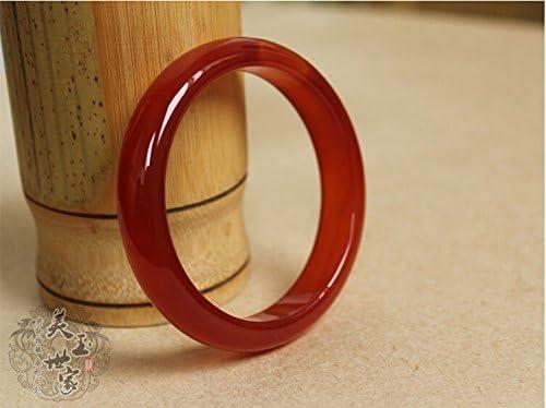 JadeLove 44-67mm Natural Red Emerald Jade Carved Bracelet Bangle with Gift Box