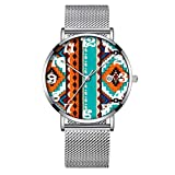 Minimalista moda da polso al quarzo Elite ultra sottile impermeabile orologio sportivo con data con mesh Band 361.Turchese arancione & American Indian stampa