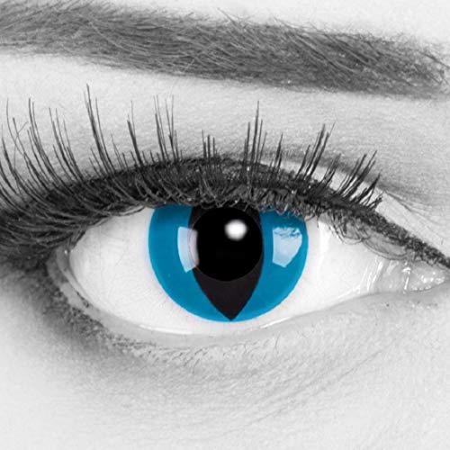 Funnylens 1 Paar farbige Crazy Fun mystic cat Jahres Kontaktlinsen. perfekt zu Halloween, Karneval, Fasching oder Fasnacht mit gratis Kontaktlinsenbehälter ohne Stärke!