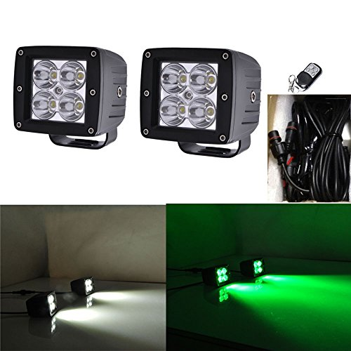 Night Break Light 2pcs 24W White Green Color Changing Led Pod Remote Controller 9 Flashing Patterns for Offorad 4wd Truck 4x4 USV ATV White Green Led Strobe Lights Emergency Free Wire Harness