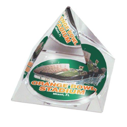 NCAA Miami University Hurricanes Schale in 5 cm Kristallpyramide mit Farbiger Geschenkbox mit Sichtfenster