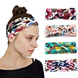 YONUF Boho Headbands For Women Girls With Buttons Elastic Yoga Hair Bands Accessories Non Slip 4 Pcs