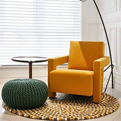 Lwieui Silla de sofá Silla de sofá de Tela Simple nórdica Silla de salón Franela Balcón Silla de Lectura Silla Sillones y chaises Longues (Color : Yellow, Size : 69x88x74cm)