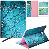 Samsung Galaxy Tab S2 8.0 2015 Case - Newshine PU Leather Stand Folio Case Cover with Card Slots Note Holder for Samsung Galaxy Tab S2 Tablet 2015 Release (8.0 Inch, SM-T710 T715) - Almond Flowers