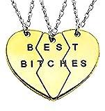 Inception Pro Infinite Tres Collares - Piezas - corazón - Dividido - Partes - rotas - Mitad - Mejores Perras - Escritura - Idea de Regalo de Fiesta - Mujer - niñas (Color Dorado y Plateado) - Joyas