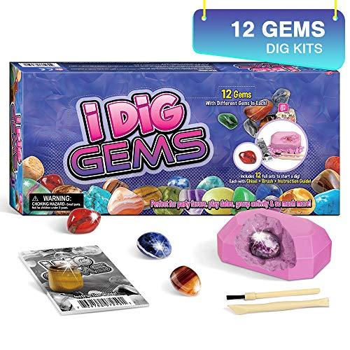 Dr. Daz Edelstein Ausgrabungsset für Kinder 12 Mineralien Steine Ausgrabungs Spielzeug Mädchen Archäologie Geburtstagsgeschenk Set