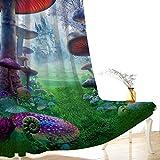 AHCMYK Cortinas Decorativa Opacas Aislamiento Termicas con Ojales - Setas del Bosque, 3D Impresión Digital Cortinas para Salón, Habitación y Dormitorio 2 Piezas, 75 X 166 CM