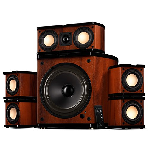 """Swan Speakers - M20-5.1 - 5.1 Powered Bookshelf Speakers - Wooden Cabinets - 65W RMS 8"""""""" Subwoofer - Powerful Bass - Compact Luxurious Home Theater - Remote Control"""