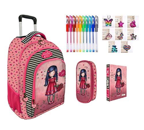 Trolley mochila escolar compatible con Santoro Gorjuss London Grows Love El Amor Crecimiento + Estuche con cremallera ovalado + Diario + Llavero + Bolígrafo de colores