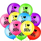 Gejoy 24 Stück Ich Liebe 80 Jahre Luftballons Sortiert Farbe Latex 80 Jahre Luftballons für 1980er Jahre Retro Themen Dekorationen Geburtstag Party
