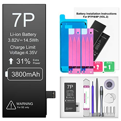 3800mAh Akku für iPhone 7 Plus, Ponoser Neuer 0-Zyklus Höhere Kapazität Li-ion Ersatz Akku für Apple 7 Plus mit Komplett Professionelle Reparaturwerkzeuge und Anweisungen, Garantie 2 Jahr 100%