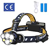 ELMCHEE Rechargeable headlamp, 12000 Lumen 6 LED 8 Modes 18650 USB Rechargeable Waterproof Flashlight Head...