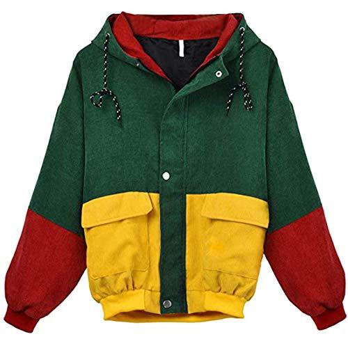 Damen Kapuze Jacke Mode Frauen Langarm Cordjacke Patchwork Loose Jacke Windbreaker...