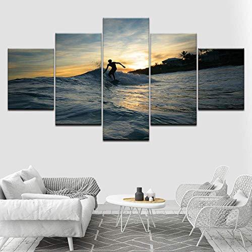 mwioq 5 imágenes 5 Piezas de Fondos de Pantalla un niño surfeando en el mar Arte Lienzo impresión Cartel Moderno Pintura de Arte Modular para Sala de Estar decoración del hogar