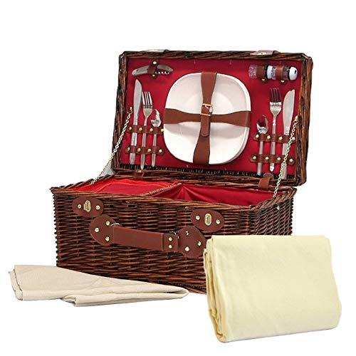 The Redgrave Picknickkorb & cremefarbene Picknickdecke aus Fleece–Luxuriöser Korb aus dunkler Weide für 4Personen, mit integriertem Kühlfach & Zubehör