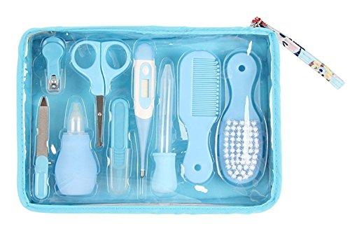 wegeit 9tlg Kit d'entretien pour bébé avec thermomètre numérique, nez Aspirateur, Sac de rangement (Bleu et Rose)