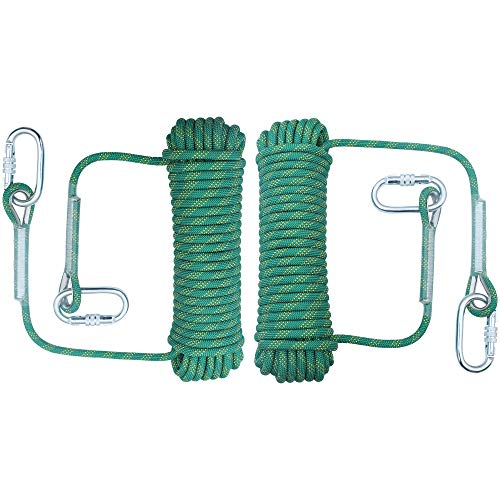 orgphys Rock Climbing Rope 2 Pack 10mm  32 Feet Outdoor Safety High Strength Rappelling Rope for Hiking Mountaineering Training Rescue Fire Escape Green
