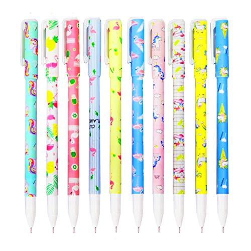 10 Lápices Boligrafos Gel Colores con Transparente Estuche de Regalo Escolar para Niña Edad 3 4 5 6 7 8 9 10 Años, TOYESS Bolígrafos Unicornio Flamingo Lindos Set