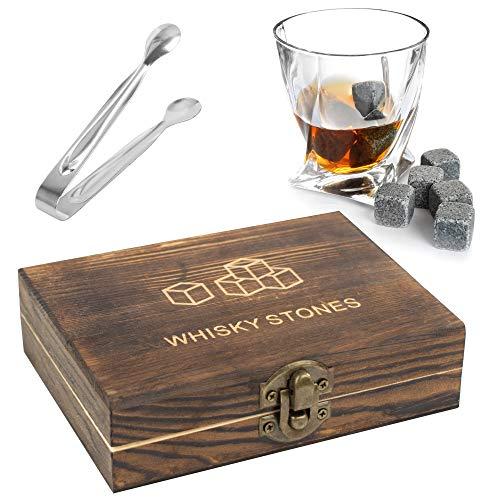 TRIXES Set Regalo con Pietre di Whisky - 9 Pezzi di Pietre di Whisky in Lussuoso Cofanetto in Legno -Regali per Uomo - Mantieni Il Whisky Scozzese al Whisky ghiacciato - Natale - Festa del papà
