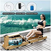 Skboy Rowing Machines, Foldable Belt Drive Rower Exercise Equipment with LCD Monitor (Include Phone Holder, Electric Water Pump)