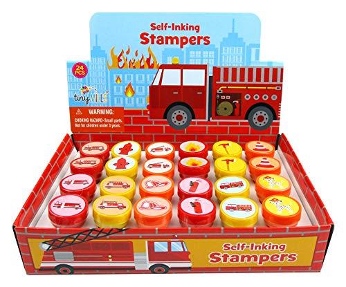 TINYMILLS 24 Pcs Firetrucks Stampers for Kids
