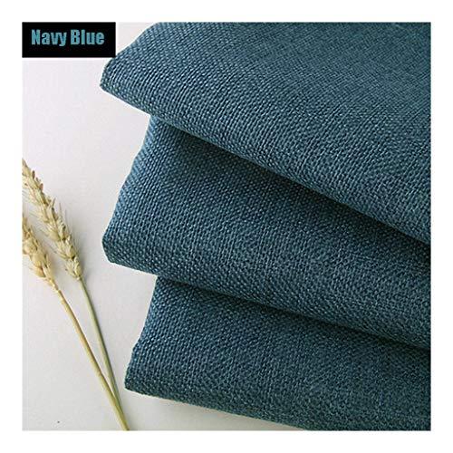 Zuiver linnen stof linnen materiaal, marineblauw zacht effen linnen look bekleding stof, 39 inch linnen stof voor dressoir, gordijnen, bruiloft, bekleding bloempot decoratie en tafelkleed (100 CM X 14
